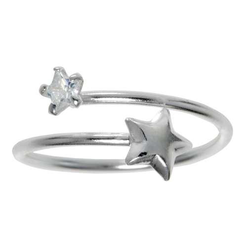 Zehenring Silber 925 Kristall Spirale Stern