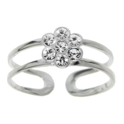 Zehenring Silber 925 Kristall Blume