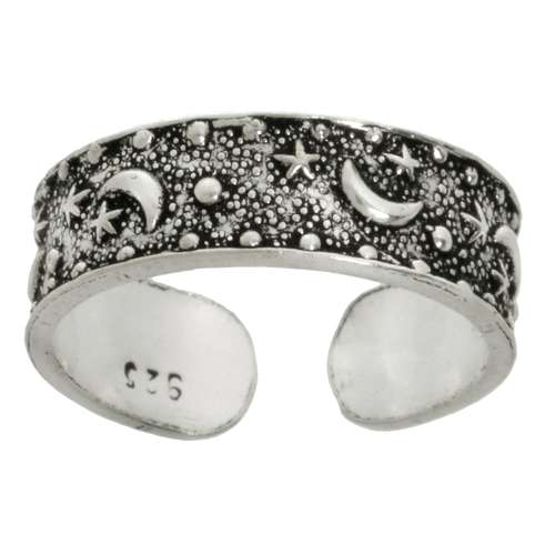 Zehenring Silber 925 Stern Mond Halbmond