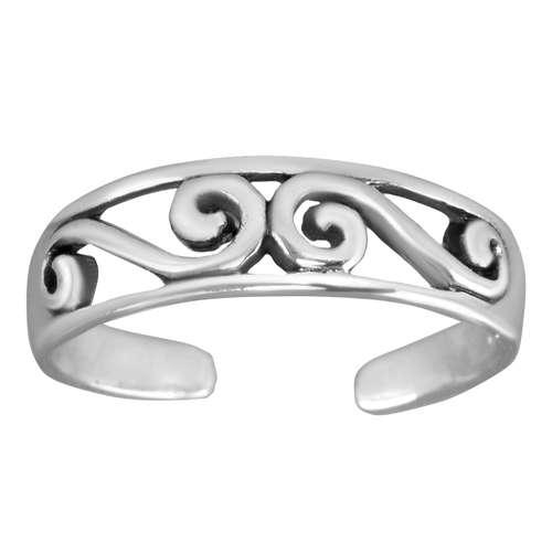 Zehenring Silber 925 Tribal_Zeichnung Tribal_Muster Welle Spirale