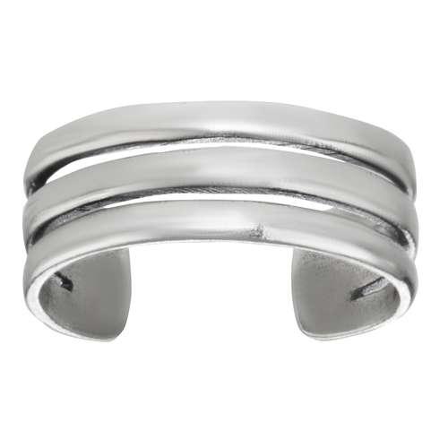 Zehenring Silber 925 Streifen Rillen Linien