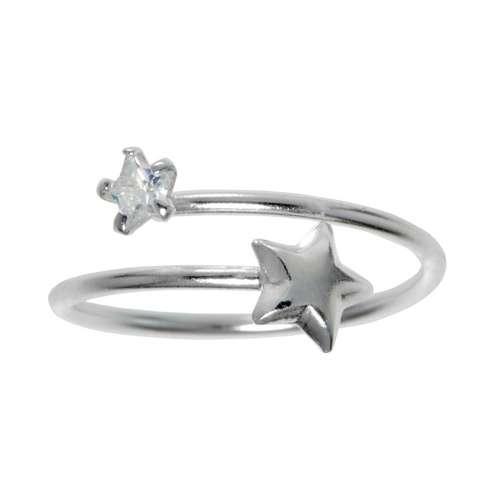 Bague de doigt Argent 925 Cristal Étoile Spirale