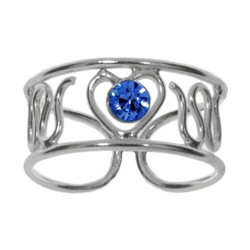 Fingerring Silber 925 Kristall Herz Liebe Welle
