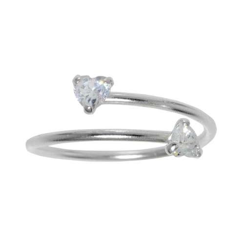 Fingerring Silber 925 Kristall Spirale Herz Liebe