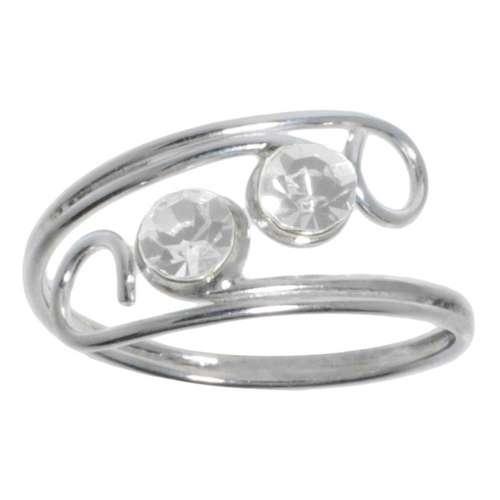 Bague de doigt Argent 925 Cristal Spirale
