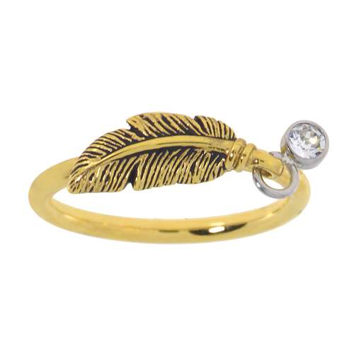 Fingerring Stainless Steel PVD-coating (gold color) Crystal Feather
