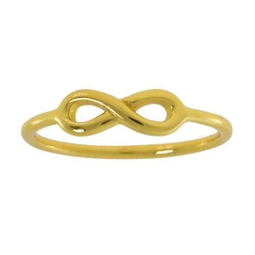 Fingerring Silber 925 Gold-Beschichtung (vergoldet) Ewig Schlaufe Endlos