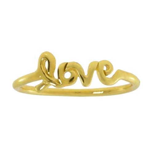 Fingerring Silber 925 Gold-Beschichtung (vergoldet) Love Liebe