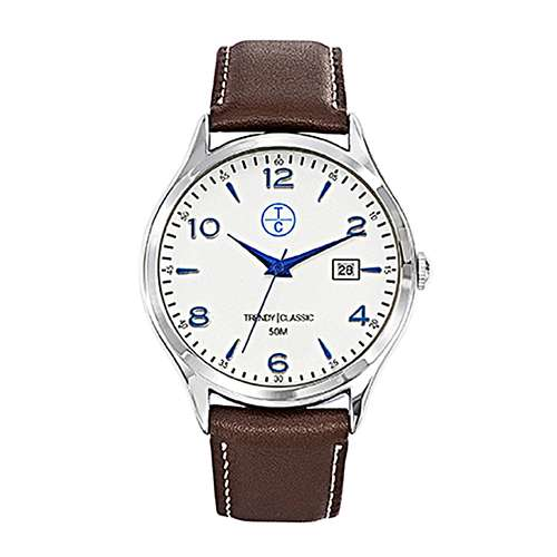 TRENDY CLASSIC Uhr Edelstahl Mineralglas Leder