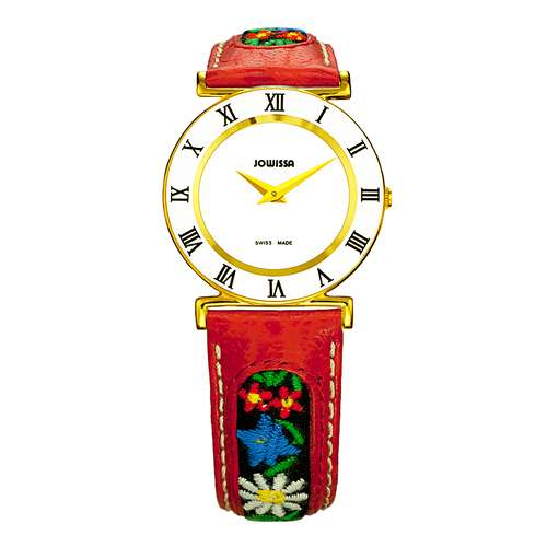 JOWISSA Uhr Edelstahl Mineralglas Leder Blume