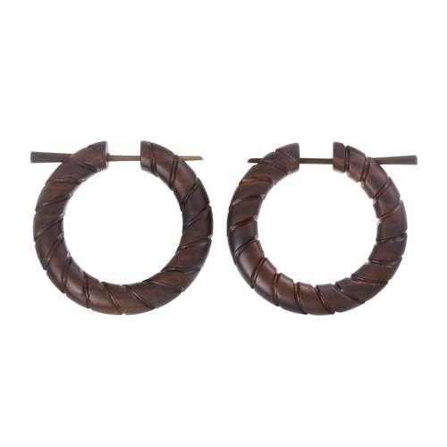 Ohrringe Sonoholz Spirale Streifen Rillen Linien
