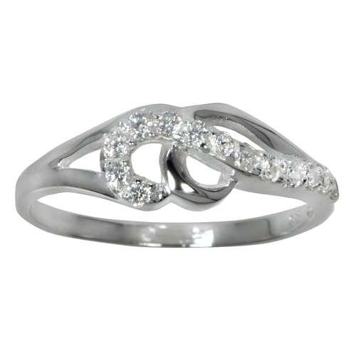 Fingerring Silber 925 Kristall Ewig Schlaufe Endlos