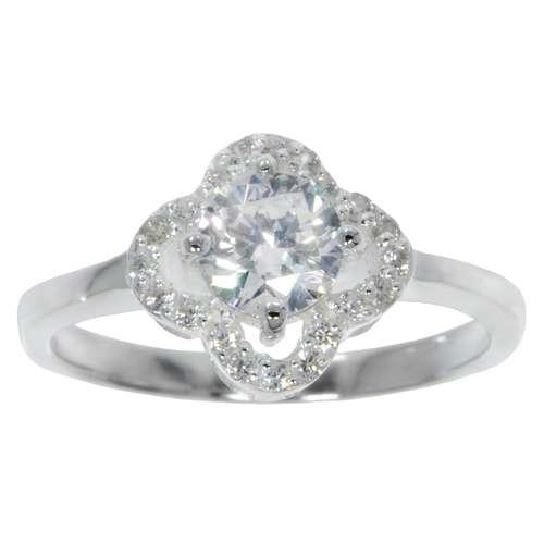 Fingerring Silber 925 Kristall Blume