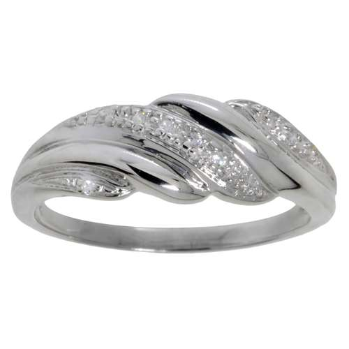Fingerring Silber 925 Zirkonia Welle