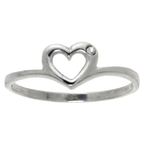 Bague de doigt Argent 925 Cristal Coeur C?ur Amour