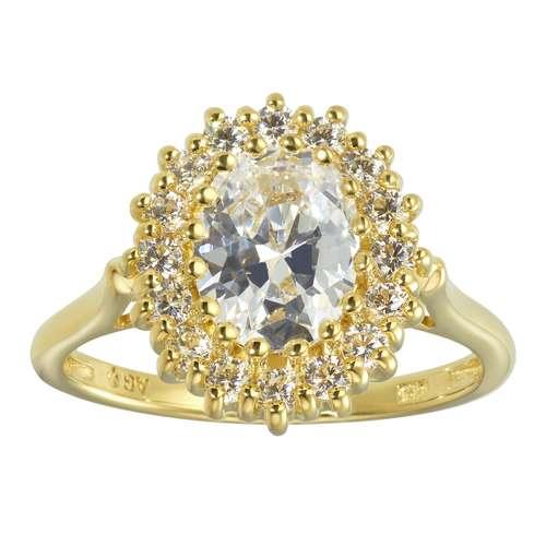 Fingerring Silber 925 Gold-Beschichtung (vergoldet) Zirkonia