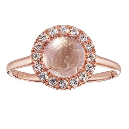 Anillo Plata 925 Revestimiento PVD (color oro) Circonita Cuarzo rosa