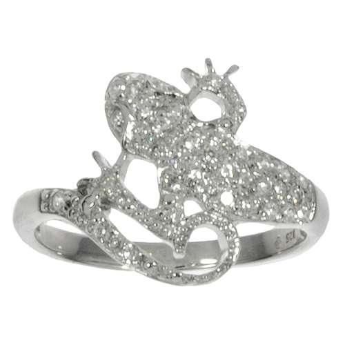 Fingerring rhodiniertes Silber 925 Zirkonia Salamander Gecko Gekko