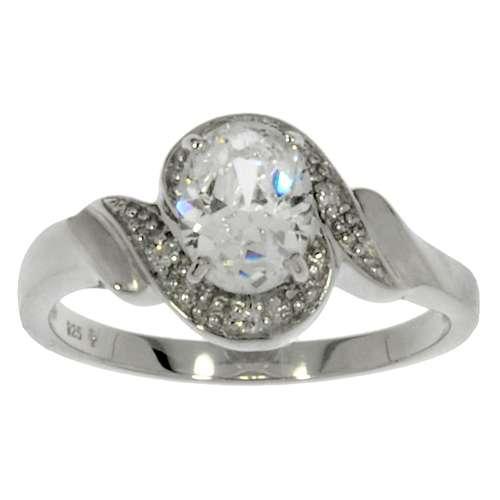 Fingerring rhodiniertes Silber 925 Zirkonia