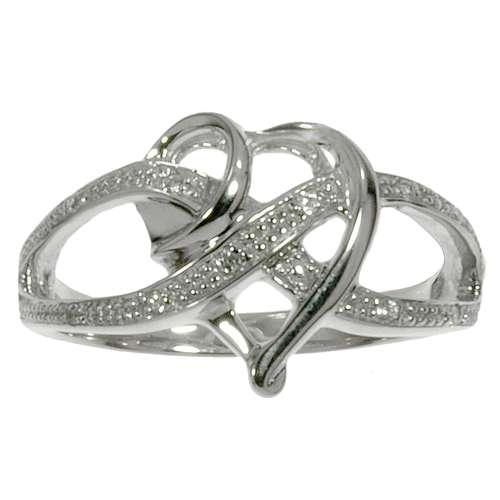 Fingerring Zirkonia rhodiniertes Silber 925 Herz Liebe Ewig Schlaufe Endlos Love Liebe